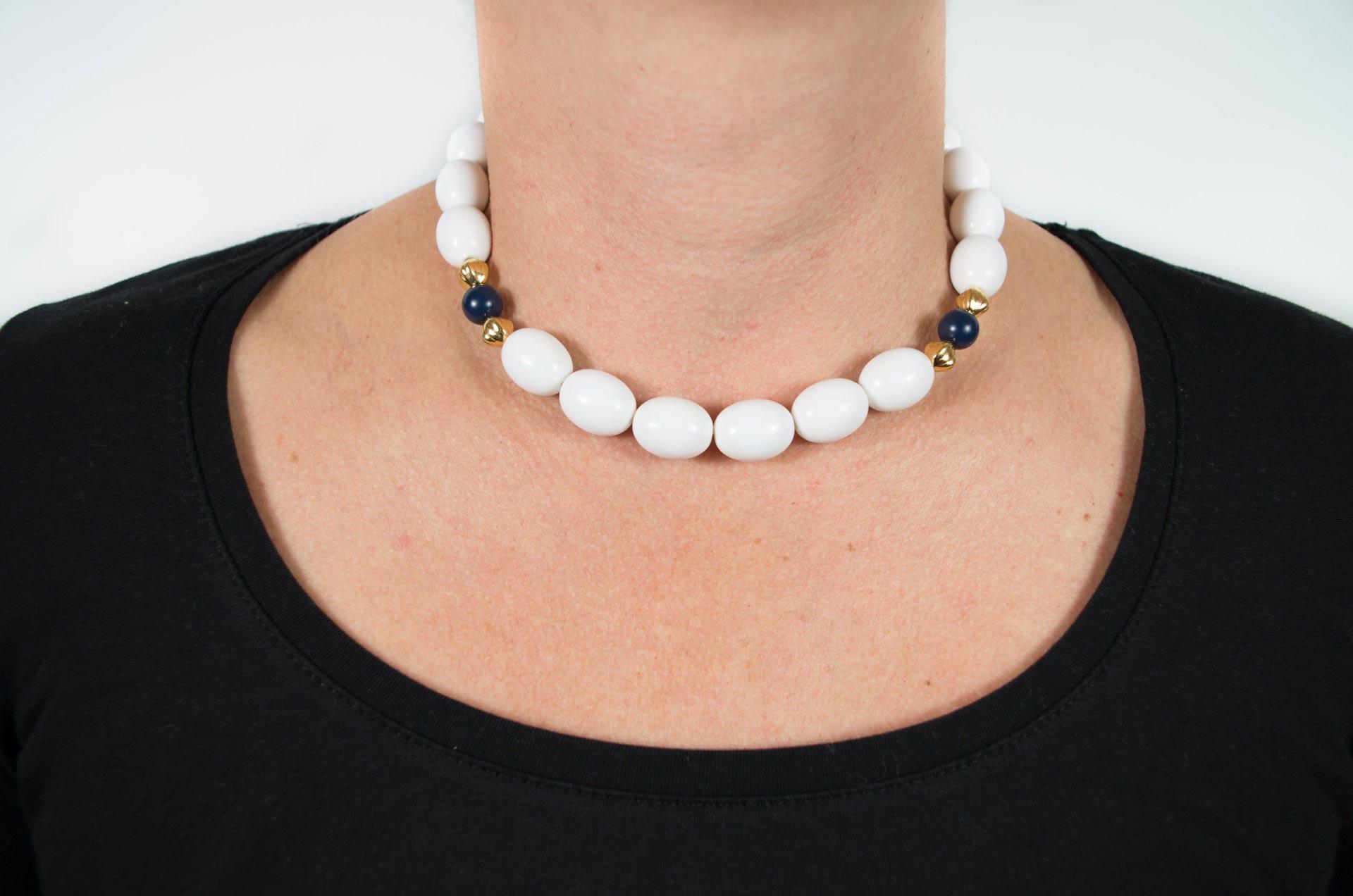 girocollo firmato monet perle bianche 5