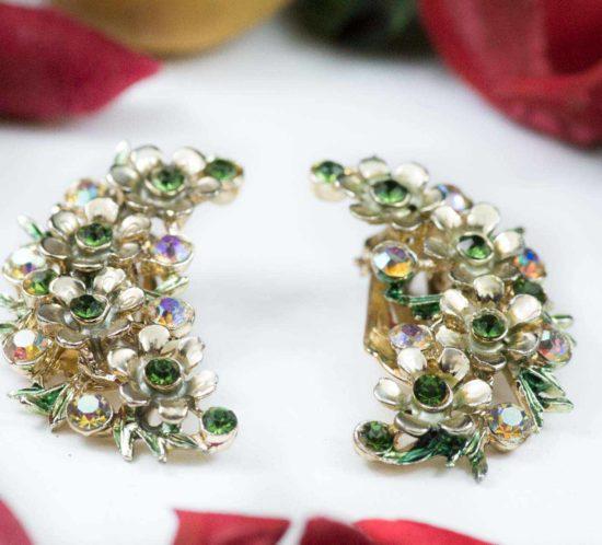 orecchini firmati bsk verde e oro