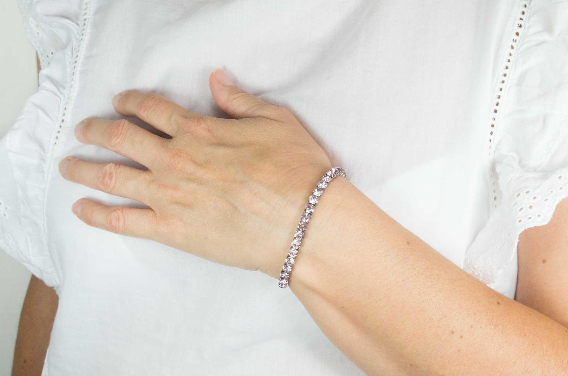 bracciale elastico cristalli rosa
