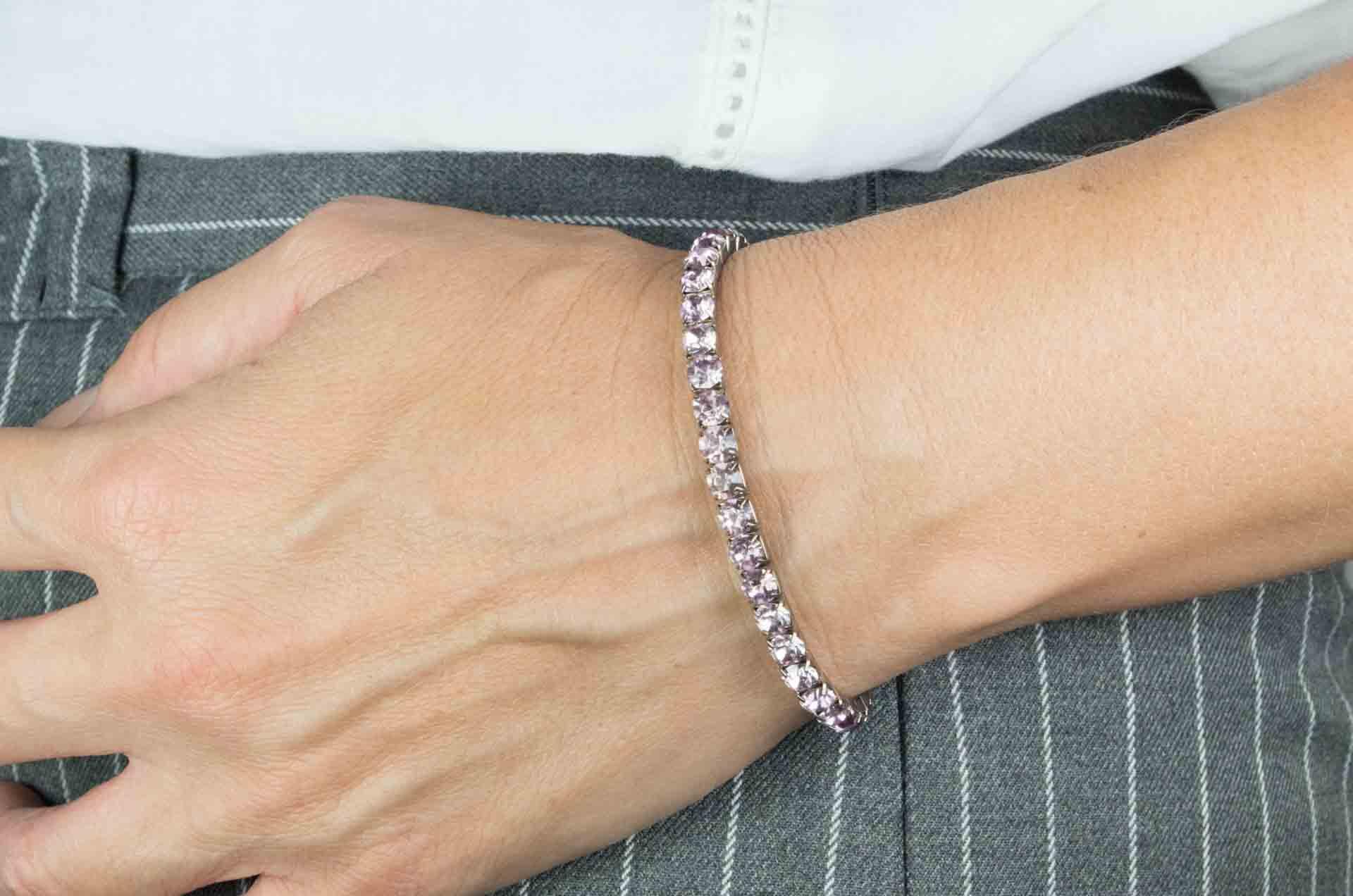 bracciale elastico cristalli rosa 5
