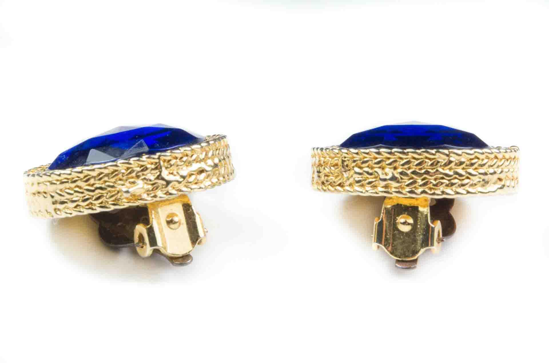 orecchini bottone blu 8