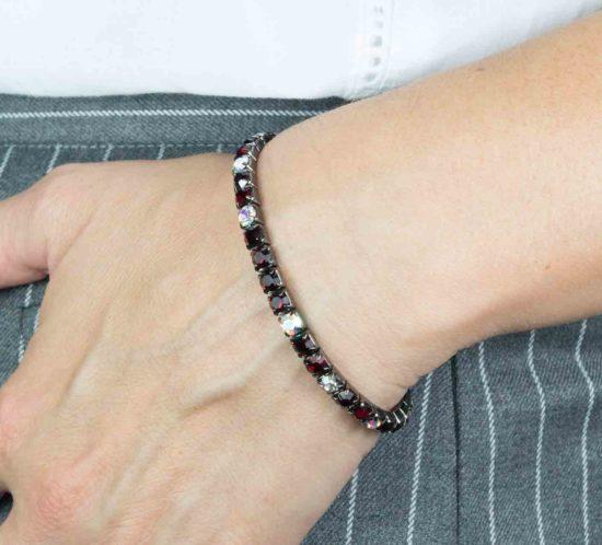 bracciale elastico cristallo bordeaux