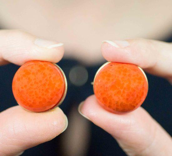 orecchini bottone arancione 17