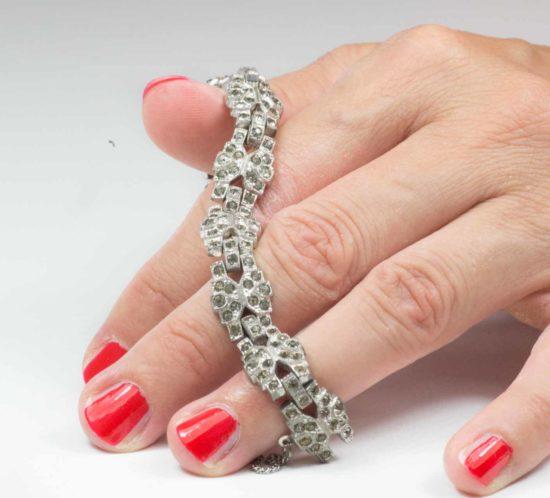 bracciale argento cristalli 13