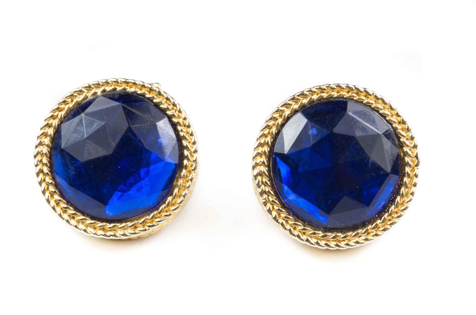 orecchini bottone blu 1