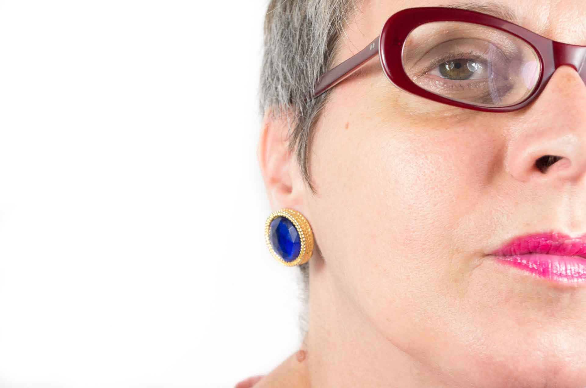 orecchini bottone blu 10