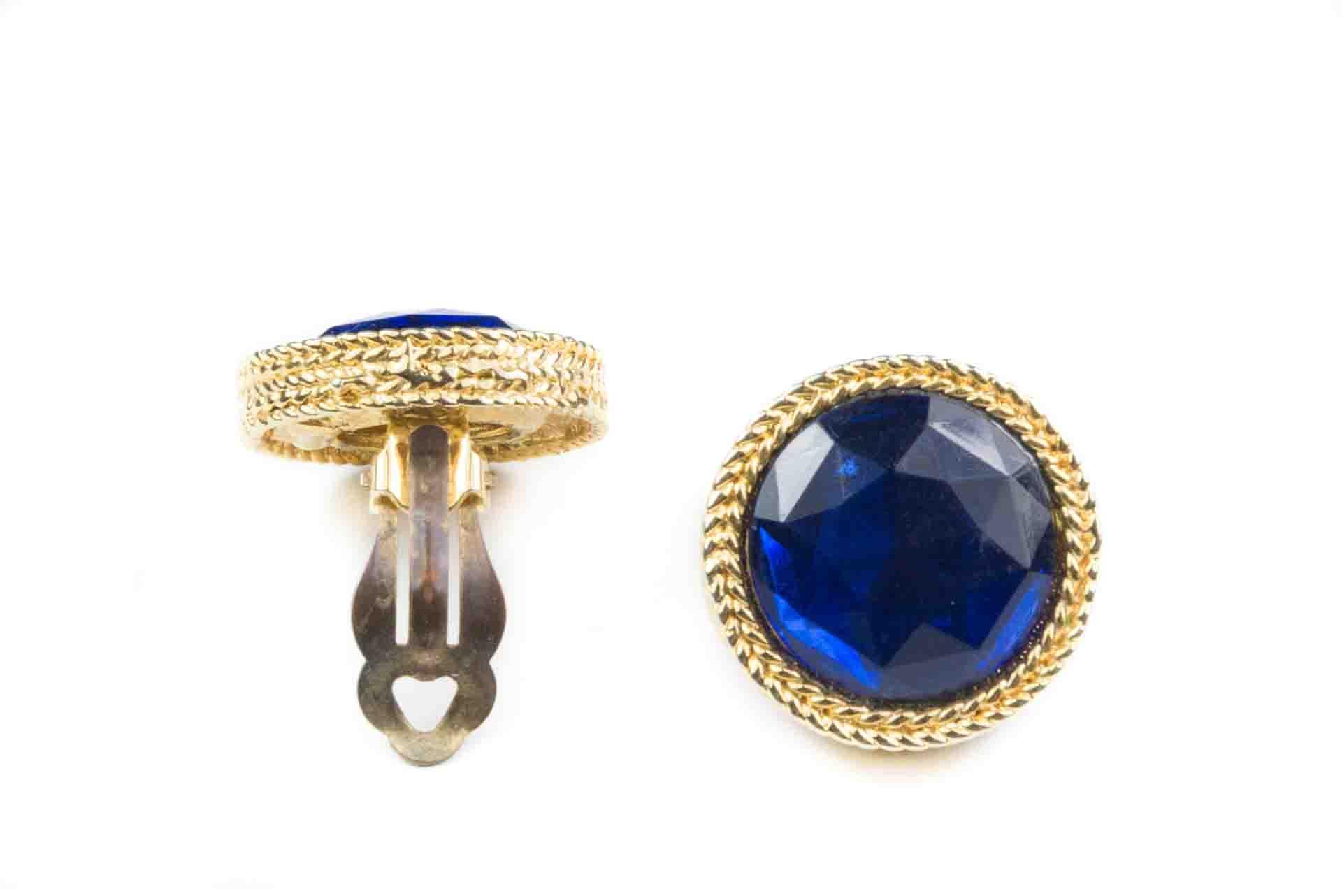 orecchini bottone blu 2