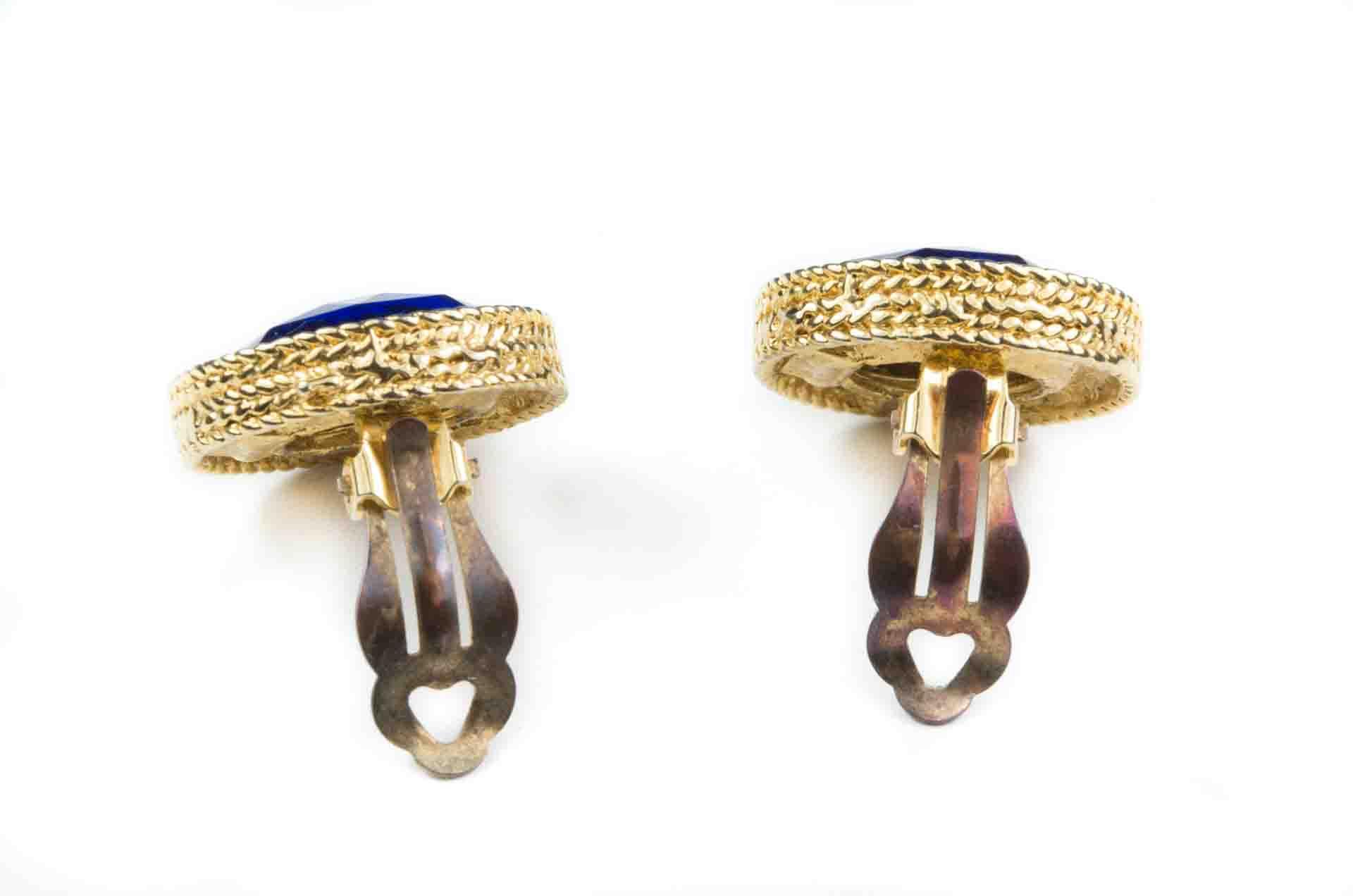 orecchini bottone blu 3