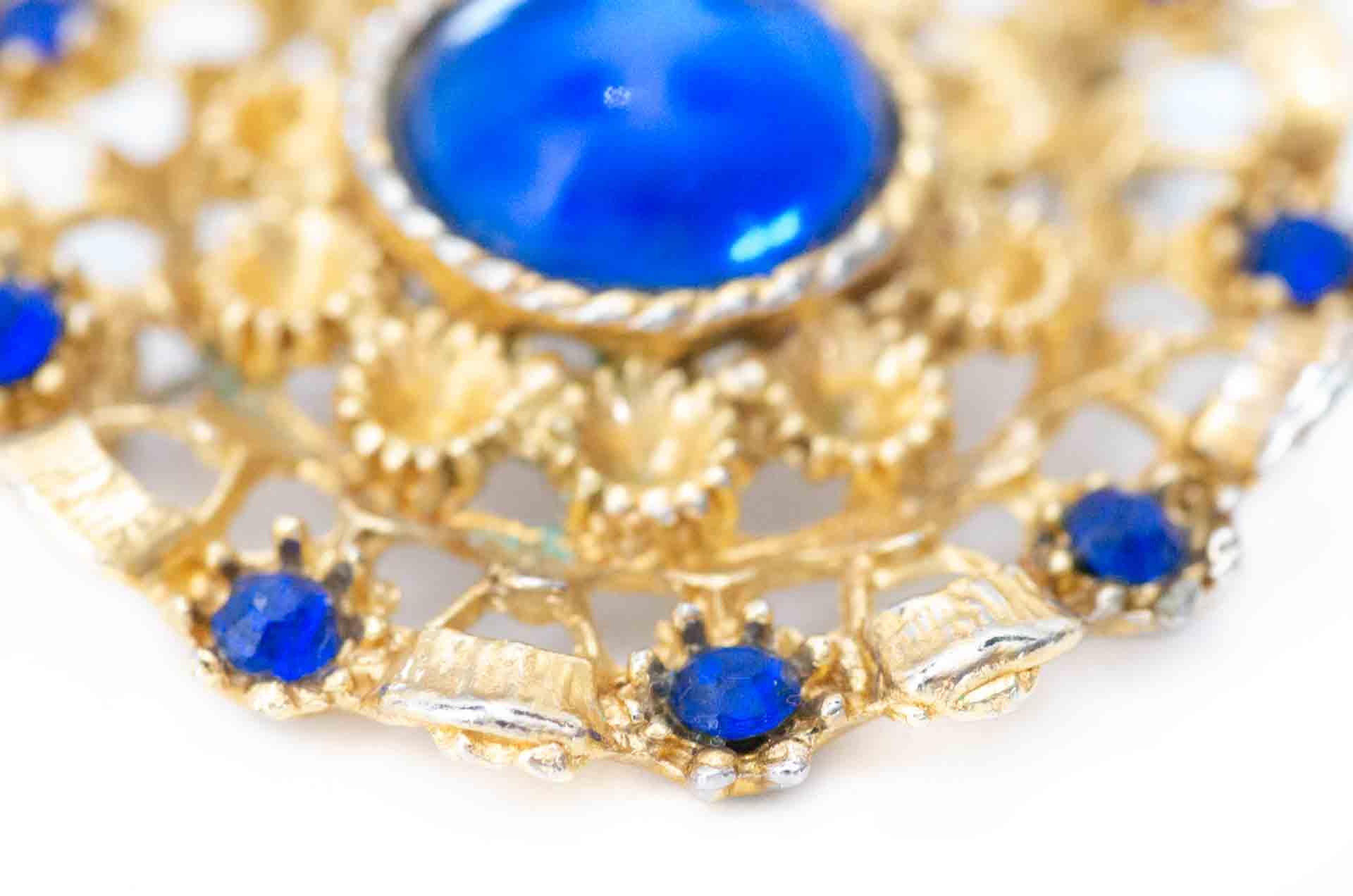 spilla cabochon blu 6
