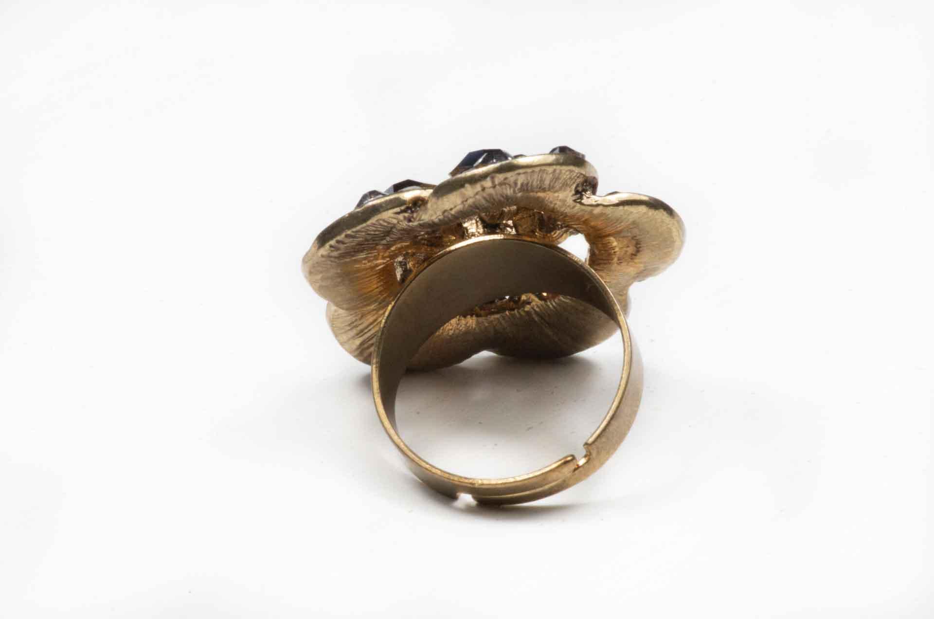 anello fiore pietre nere 4