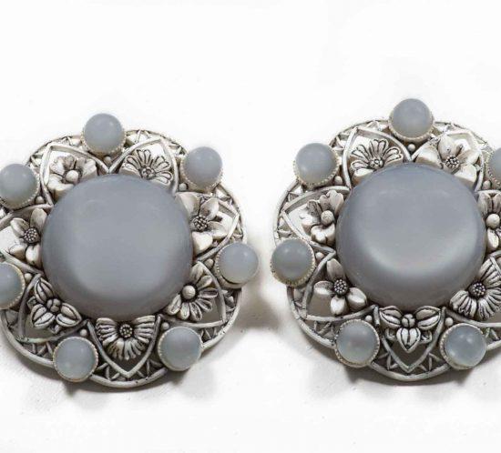 orecchini fiore grigio
