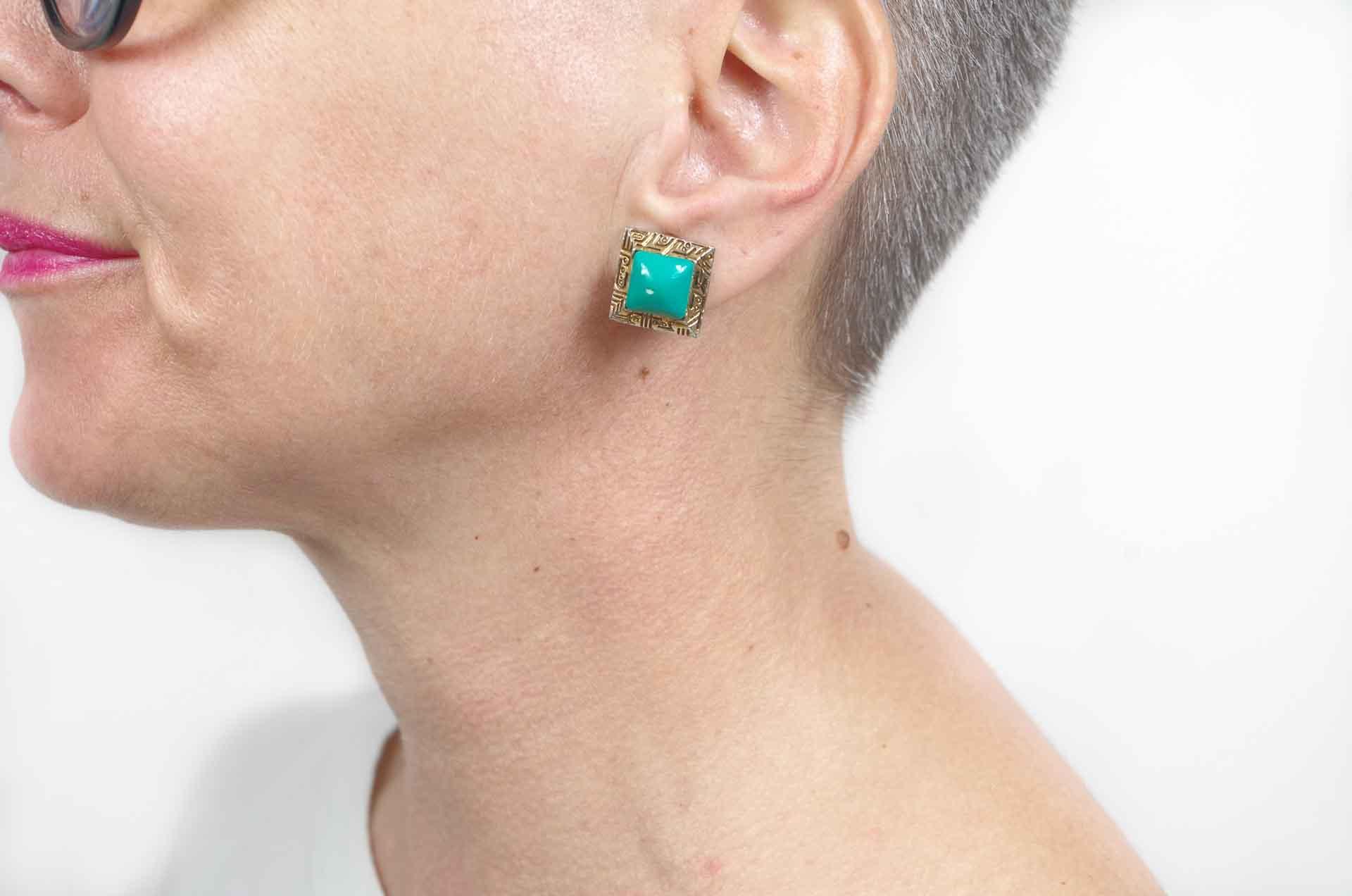 orecchini quadrati verdi 6