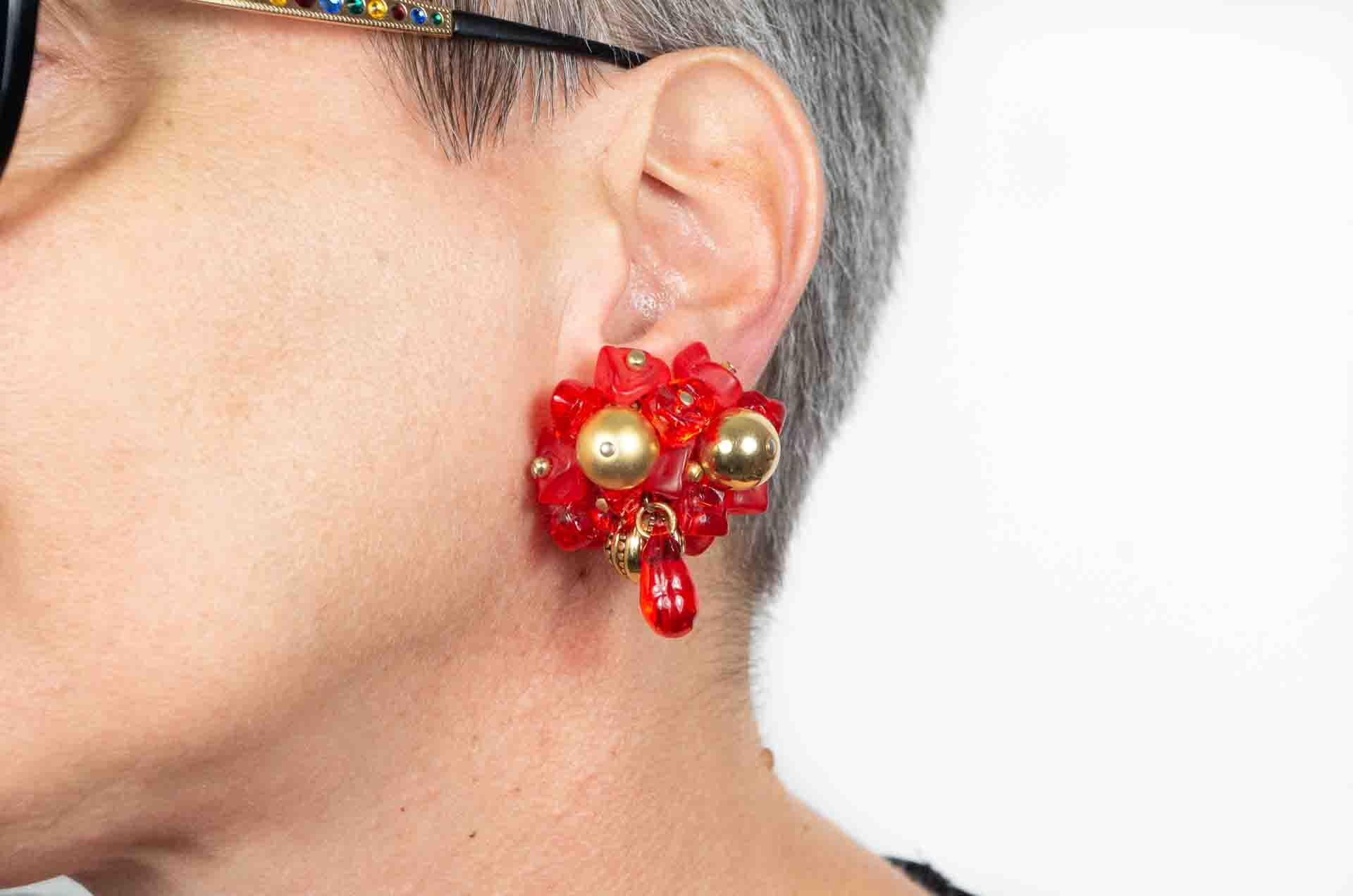 orecchini fiore rosso 8