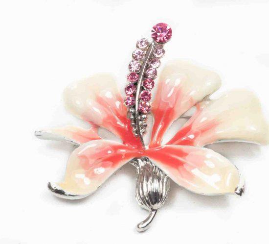 spilla fiore smalto rosa 1