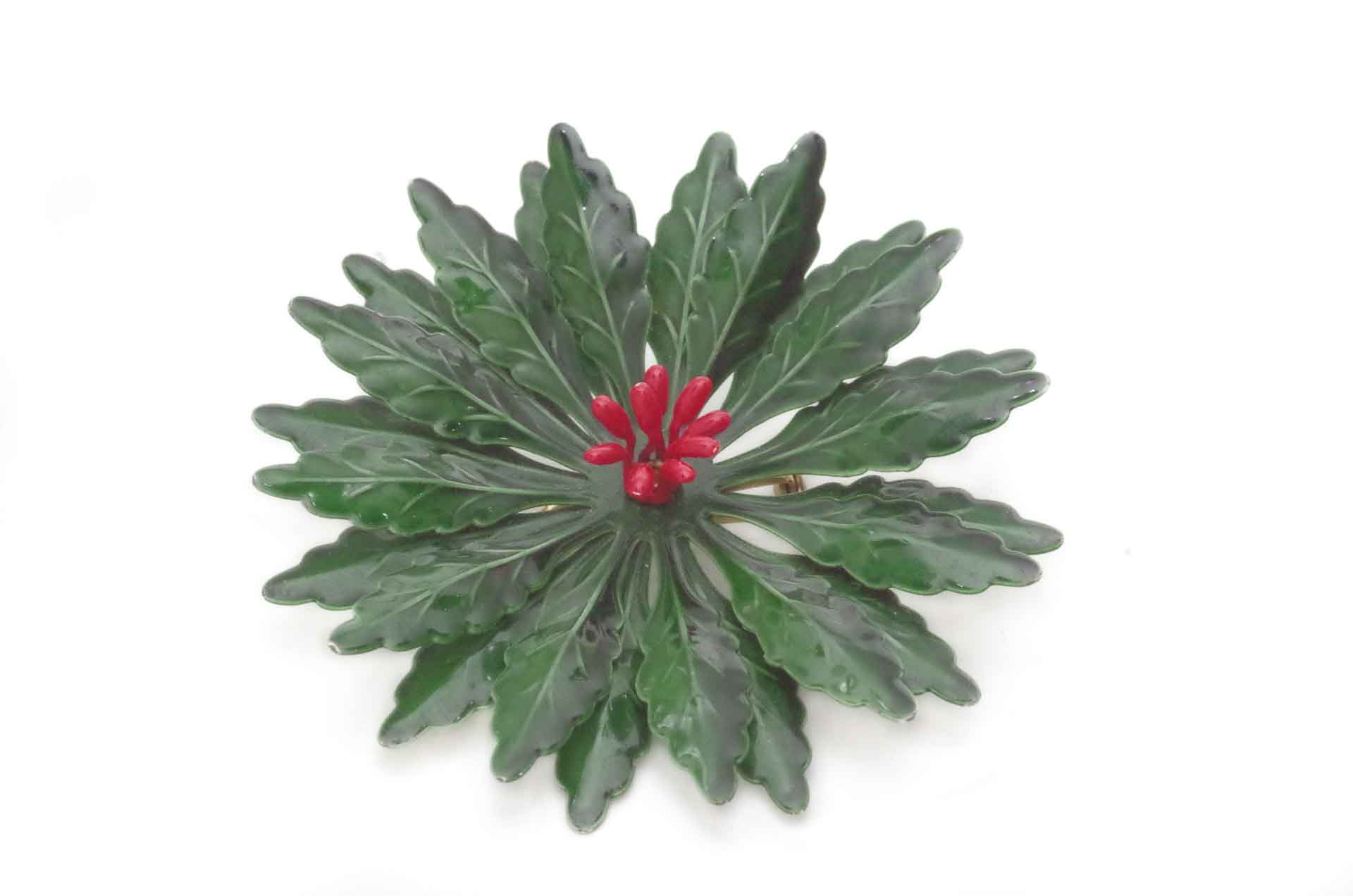 spilla fiore smalto verde 1