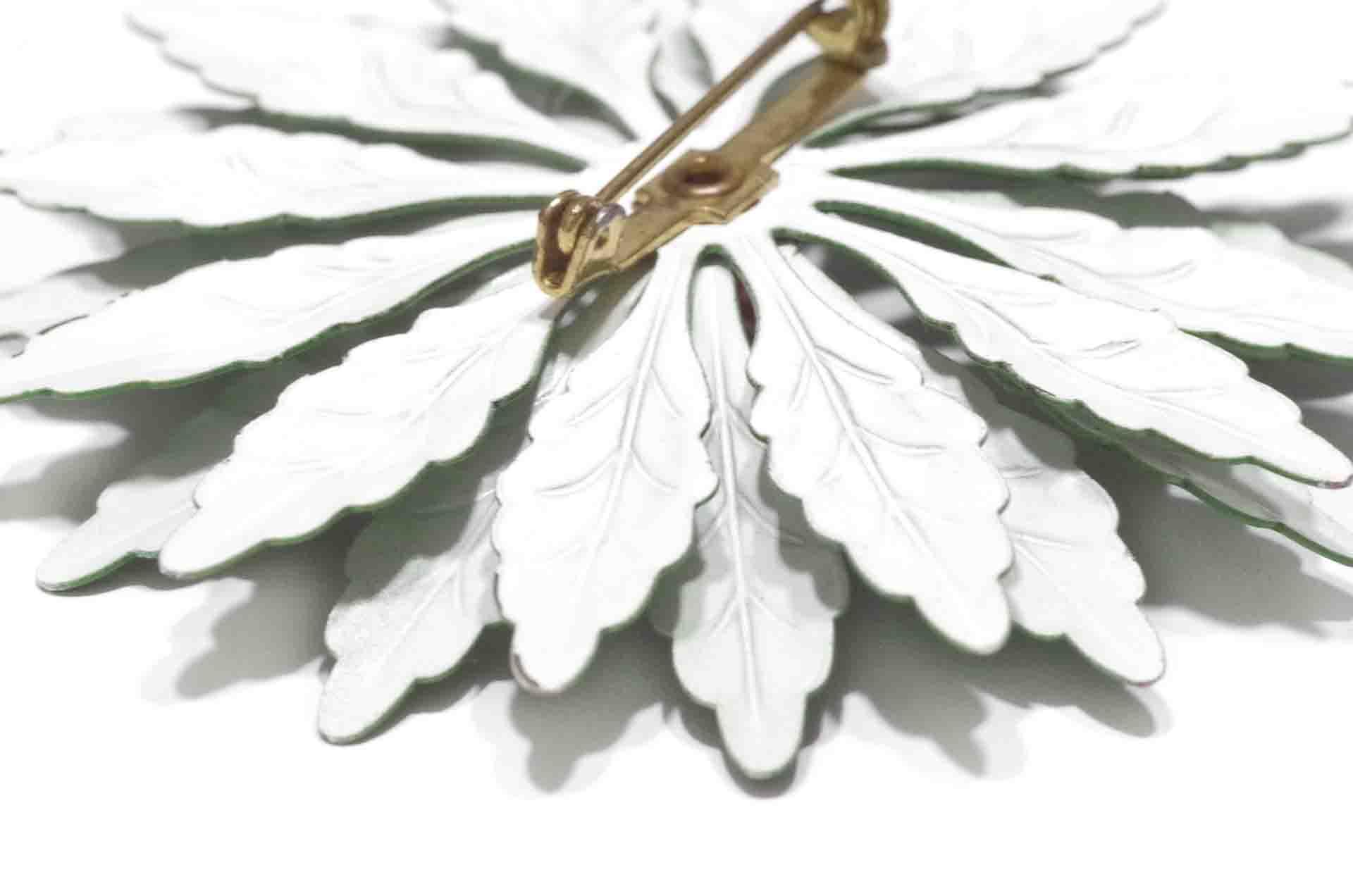 spilla fiore smalto verde 3