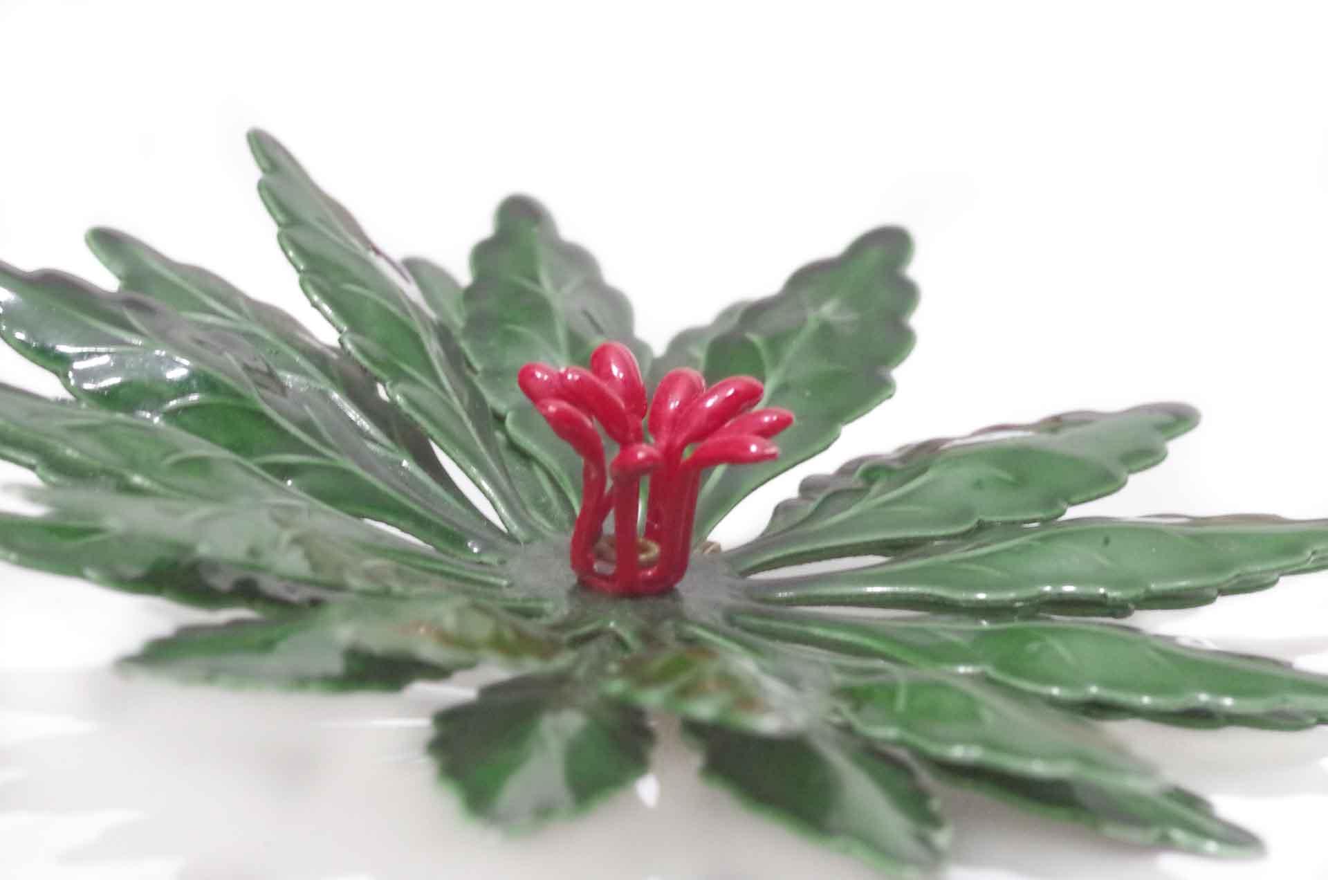 spilla fiore smalto verde 6