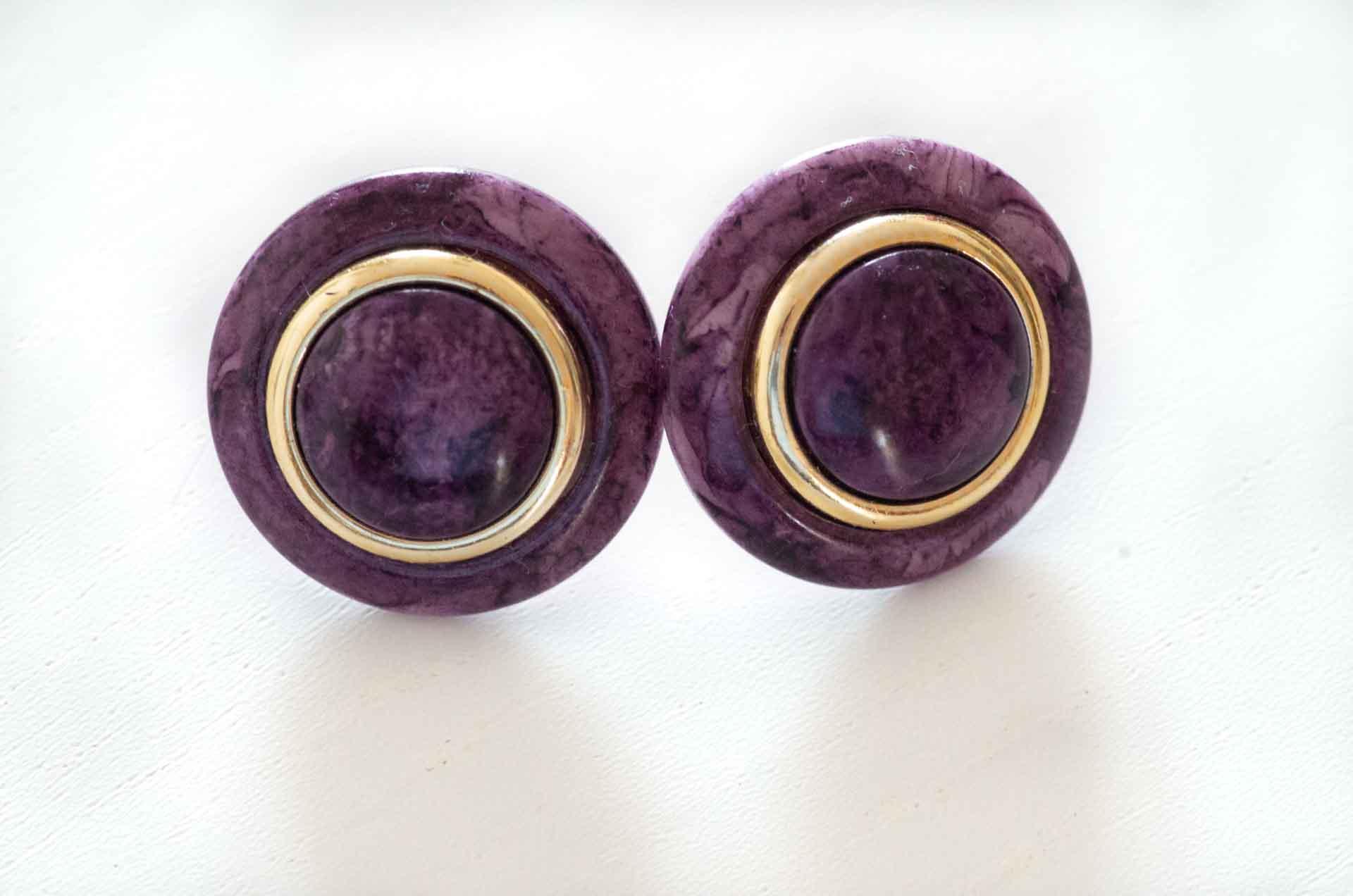 orecchini bottone viola 1