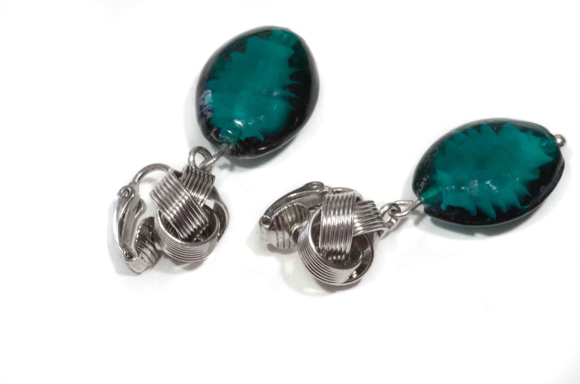 orecchini vetro verde 2