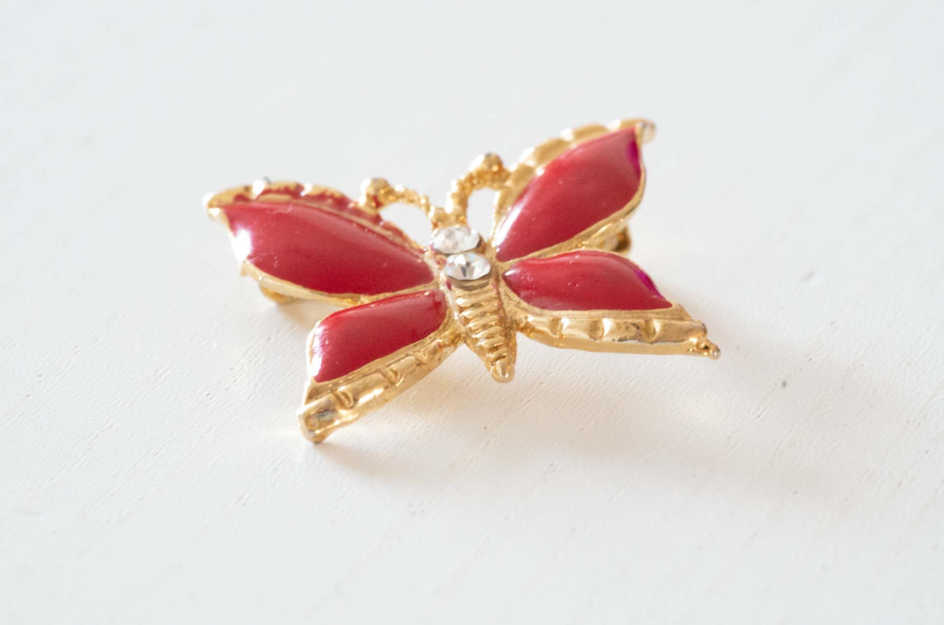 spilla farfalla rossa 3